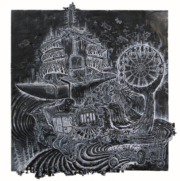 Incredibly detailed image of a ship at sea. As you look closer you notice that the ship and the sea is made up of a plethora of images such as puzzle pieces, a whale tail, lantern, a tractor, horse legs, etc.