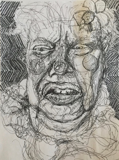 Pencil drawing of a close up portrait of a sad fat female clown wearing a clown costume and clown make-up