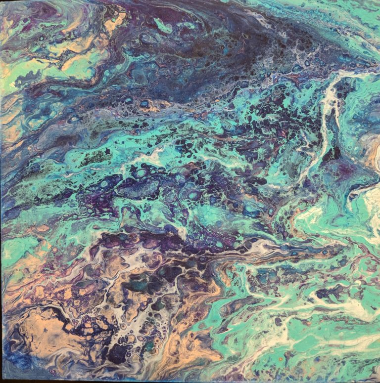 swirl of colours, green, blue, organge, cream, purple and black