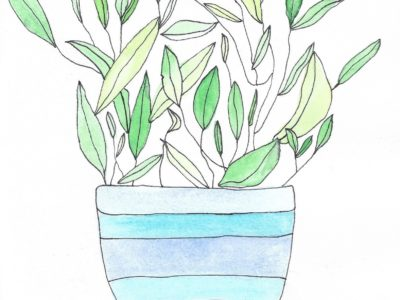 Painting of green leaves in a blue striped pot