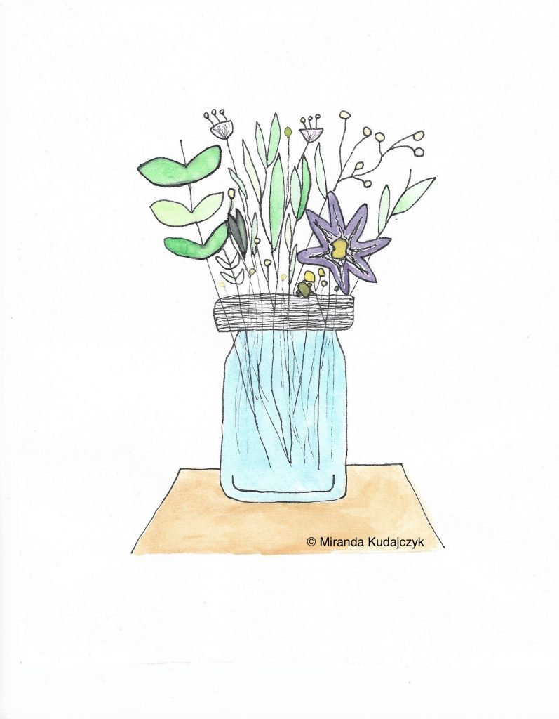 Drawing of flowers in a mason jar