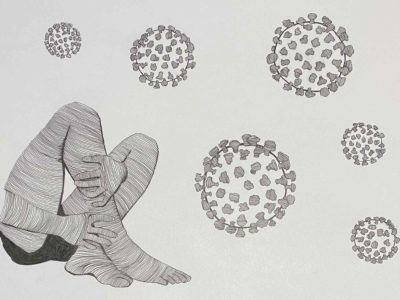 Line drawing of a person's legs and floating corana viruses