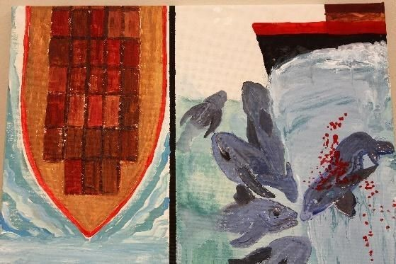 the left side is a painting of a shipping boat from above, the right side shows whales being hit by the shipping boat and bleeding