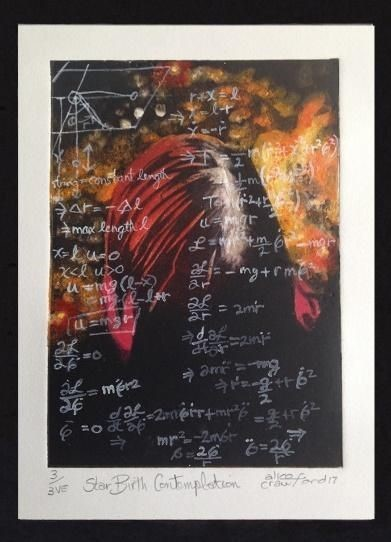 mathematical formulas written in white on a dark background with yellow and red splashes