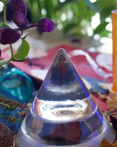 Photograph of a clear cylindrical object and purple flowers