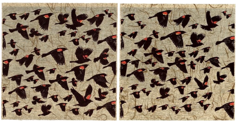 a screen print of lots of black birds with red and yellow on their backs