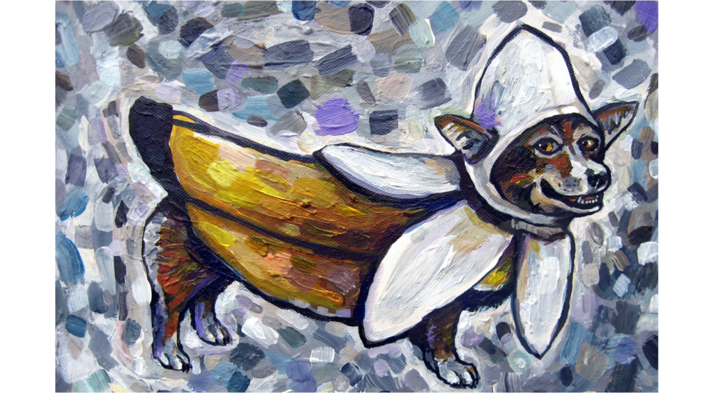 Acrylic Painting of a Dog dressed up as a banana