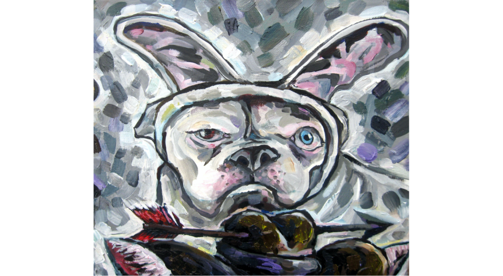 Acrylic painting of a bull dog dressed up as a bunny. He has one blue eye and one brown eye