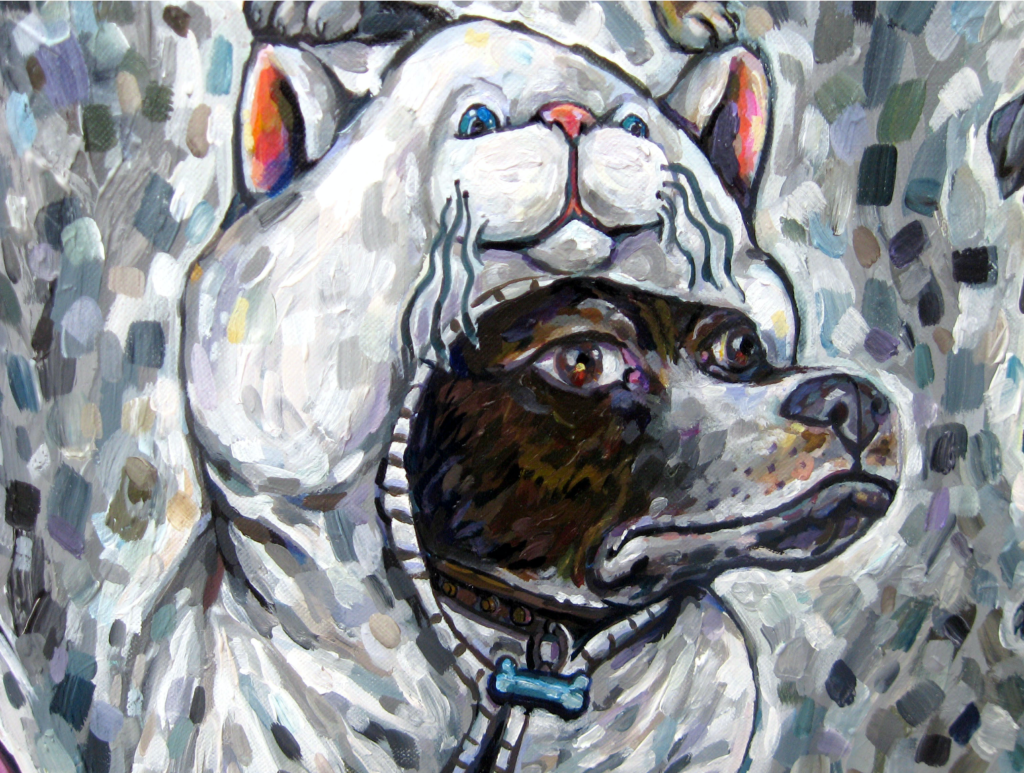 Acrylic painting of a dog dressed up as a white cat