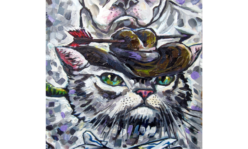 Acrylic painting of a white cat wearing a cowboy hat with an arrow through it