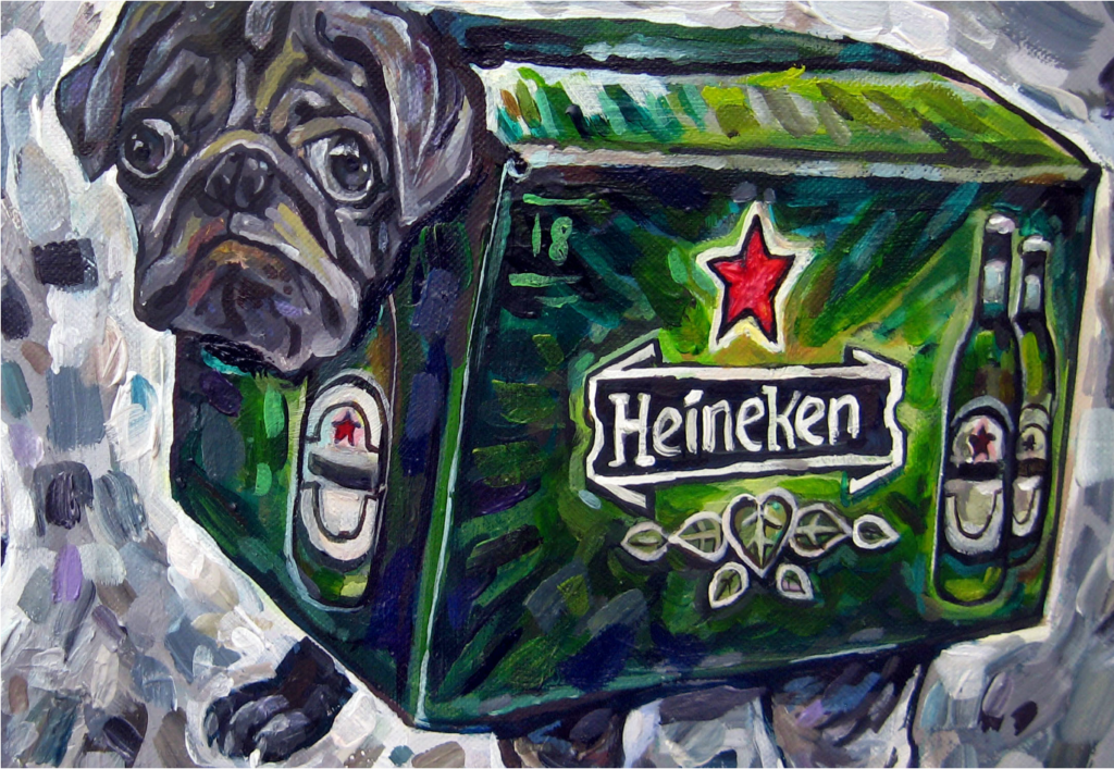 Acrylic painting of a pug wearing a Heineken beer box