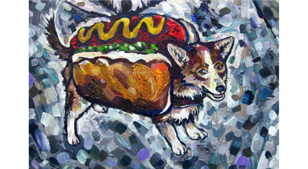 Acrylic painting of a dog wearing a hotdog costume