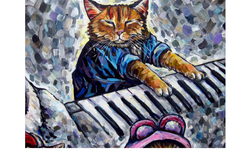 Acrylic painting of a cat wearing a blue shirt and playing the piano