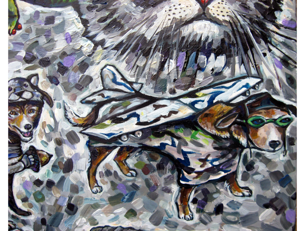 Acrylic painting of a dog wearing a airplane costume and aviator glasses