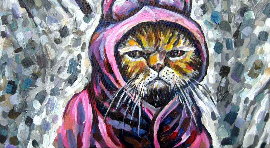 Acrylic painting of a cat wearing a pink cat costume