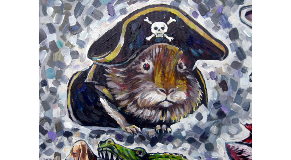 Acrylic painting of a gerbil wearing a pirate costume
