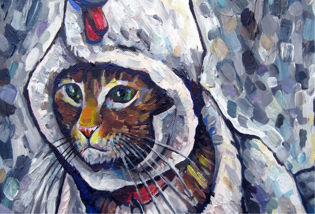 Acrylic painting of a cat wearing a rooster costume