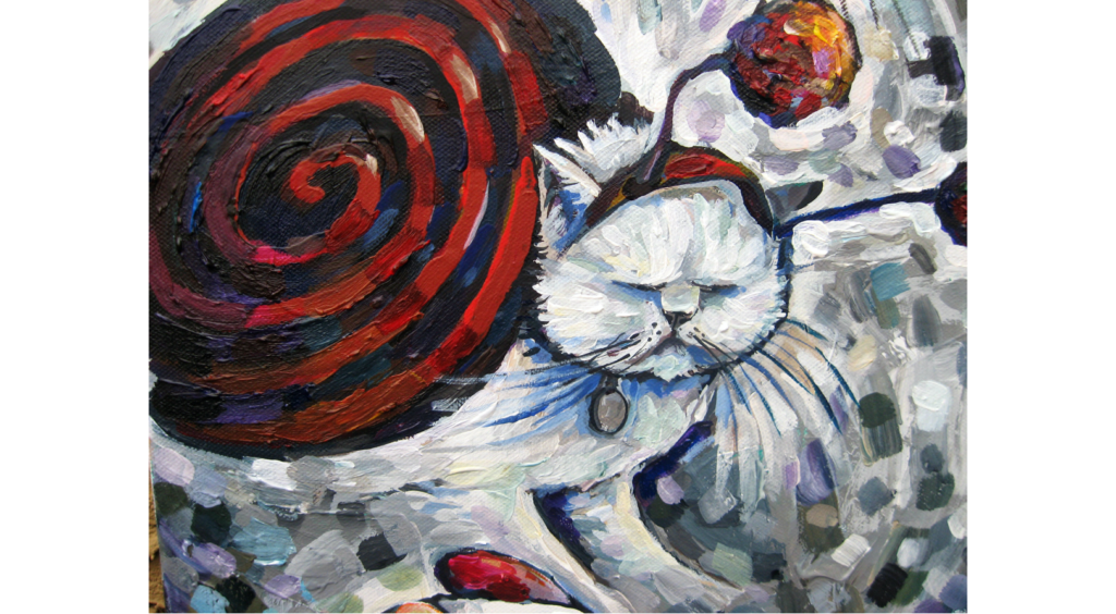 Acrylic painting of a cat wearing a red snail costume