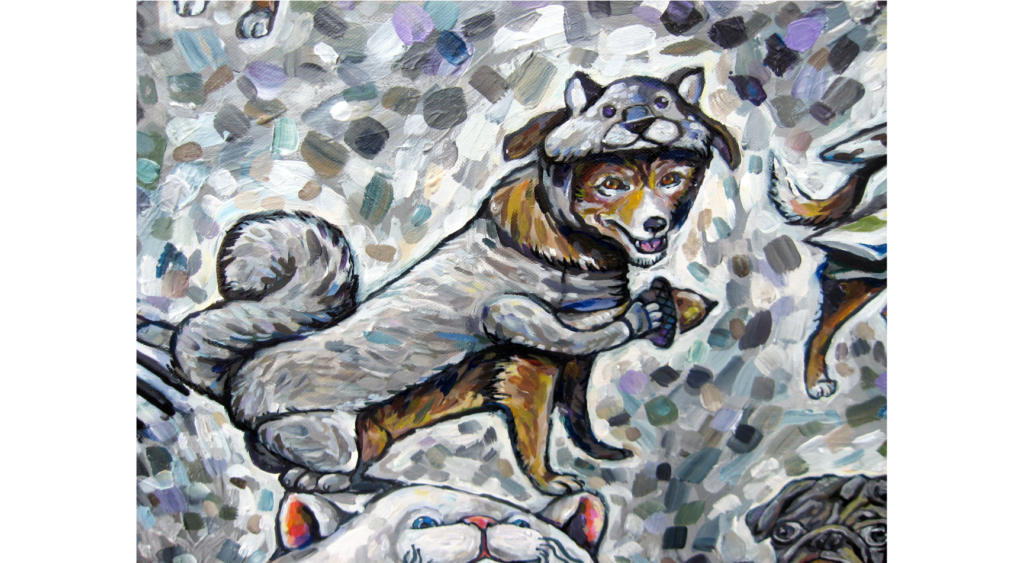 Acrylic painting of a dog wearing a squirrel costume