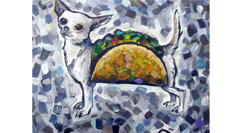 Acrylic painting of a white chihuahua wearing a taco costume