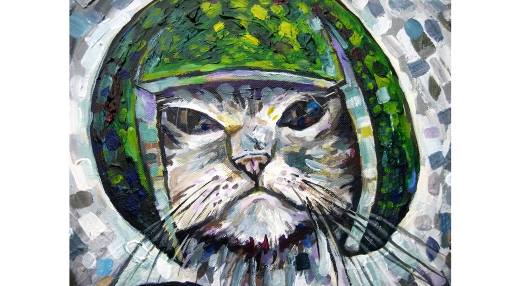 Acrylic painting of a white cat wearing a watermelon on its head