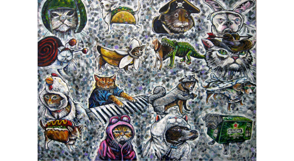 "Full image of ""We are not Amused"" an acrylic painting by Ryan Smoluk. Includes many animals dressed up in costumes"