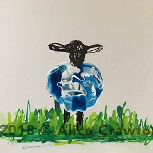 Watercolour painting of a sheep with black heads and blue wool standing on green grass.