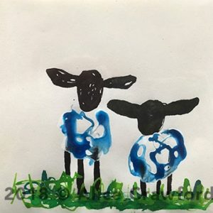 Watercolour painting of two sheep with black heads and blue wool standing on green grass.