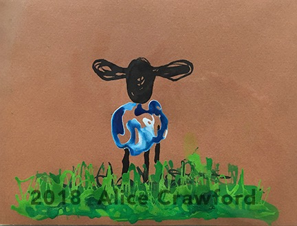 Watercolour painting on a brown paper of a sheep with black heads and blue wool standing on green grass.