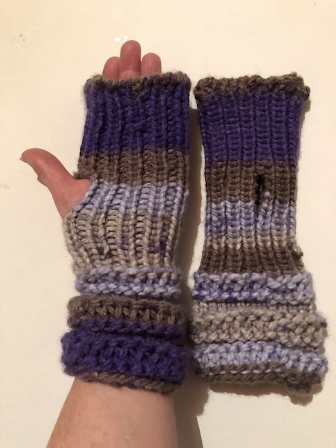 Image of Purple ad Grey knit fingerless mitts