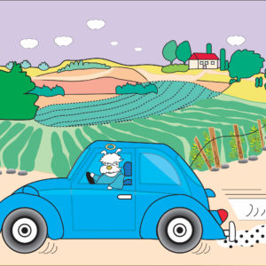 Digital image of a white dog with a halo driving a blue VW beetle through the countryside