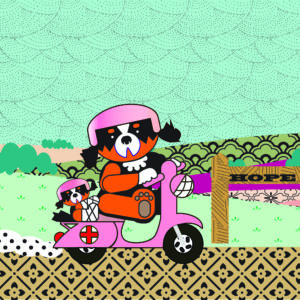 Digital Image of a dog wearing a helmet ridding a pink scooter through the countryside