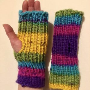 Image of rainbow knit fingerless mitts
