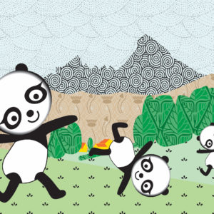 Digital Image of three Pandas dancing and doing cartwheels in a green field with a mountain and trees in the background