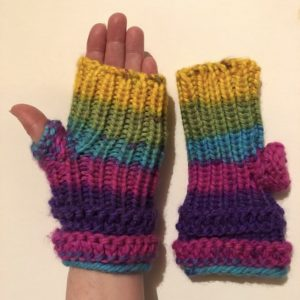 Image of rainbow knit fingerless mitts with shortknit fingerless mittsknit fingerless mitts with short thumbs