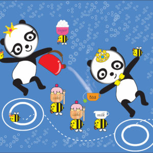 Digital Image of two Pandas drinking tea with some bees who are carrying their tea on their back