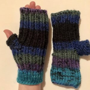 Image of Peacock colours fingerless knit gloves with short thumb