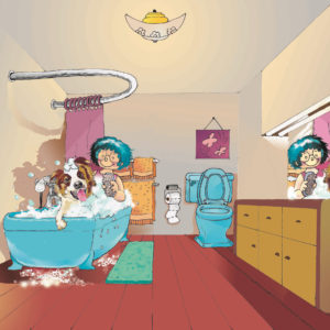 Digital image of a persons with blue hair giving a dog a bath with lots of bubbles in a bathroom