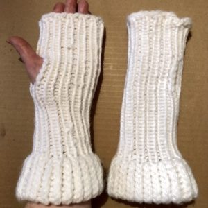 Image of Long wrist White knit fingerless gloves