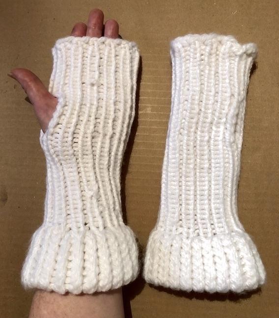 Image of Long wrist White knit fingerless gloves