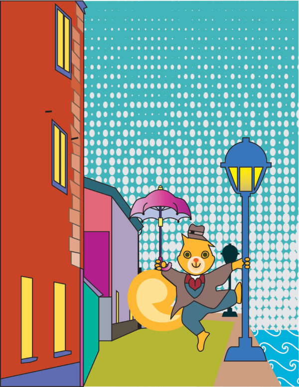 Digital image of a squirrel wearing a suit and hat and carrying an umbrella dancing with a lamp post in a city street