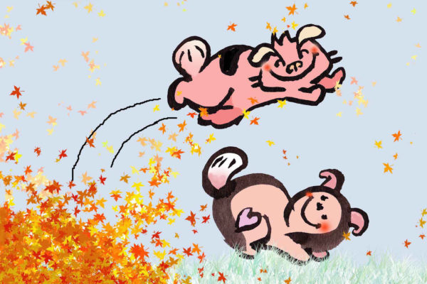 Digital image of pink animal jumping from as pile of autumn leafs over a beige dog