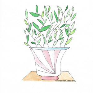 Watercolour painting of a green leafy plant in a stripped red and white vase on a wooden surface