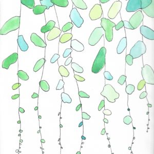 Water colour painting of green and blue vines falling down the page