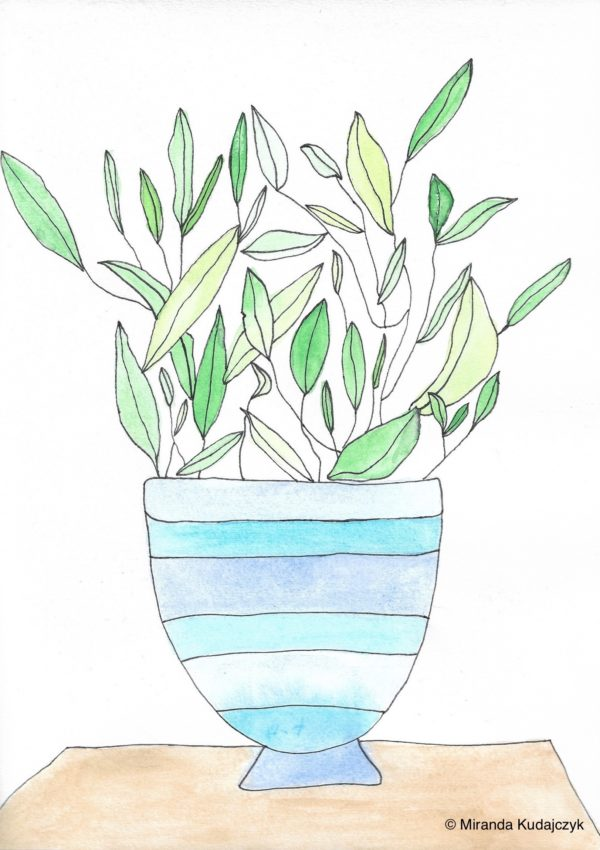 Watercolour painting of a green leafy plant in a stripped blue and white vase on a wooden surface