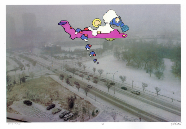 Screen print image of a winter road way with a cartoon bomber