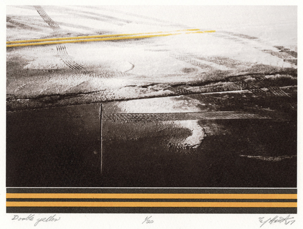 Screen Print of a street with yellow traffic lines