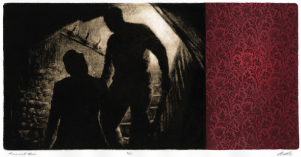 Screen print of the silhouette of two people walking down a dark stair well. there is a dark red wall with black filigree on it