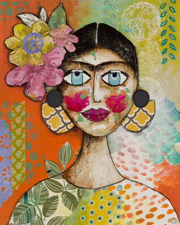 Mixed Media Image of Frida Kahlo with flowers on her head and large earrings. The image is very colourful