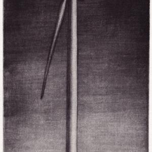 mezzotint of a windmill at nighttime